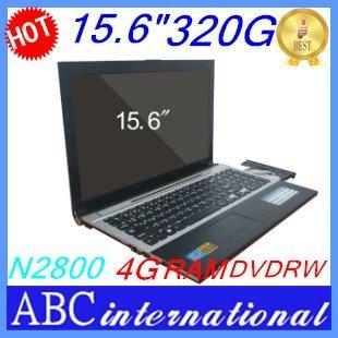 Brand New Original 15.6 inch Computer & Laptop intel atom d2800 WiFi 4G 320G HDD DVD Burner RW Russian Brazil keyboard windows 7
