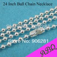 60cm (24 inch) Shin Silver 2.4mm ball chain necklace, 60cm Silver Plated Ball Chain, Bead Chain Necklace Chains