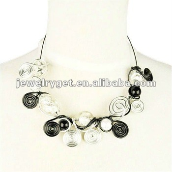 handmade wire wrapped with beads necklace, fashion jewelry accessories,NL-1823