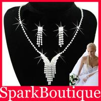 (42% off on wholesale) Crystal Bride Necklace Earrings Set Rhinestone Wedding Necklace Bridal Jewellery Set Free Shipping