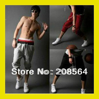 Wholesale-Men's Casual Drawstring Sports Pants Leisure Slacks Stylish Training Trousers(China (Mainland))