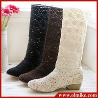 free shipping sale women's summer new ventilation tube hole boots, hollow knitted boot for lady shoes black brown white 34 - 39