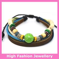 A0376 fashion genuine leather bracelets with alloy charms,new design high quality handmde tribal jewellery wristband 12pcs/lot