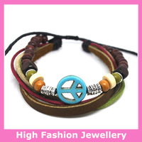 A0379 handmade real leather bracelets with vintage charms,free shipping high quality fashion ethnic jewelry wristband 12pcs/lot