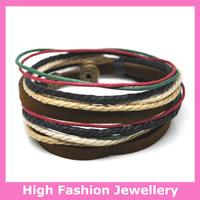 C0331 fashion handmade wrap bracelets,free shipping genuine leather charm tribal jewelry,hot sale multicolor wristband 12pcs/lot