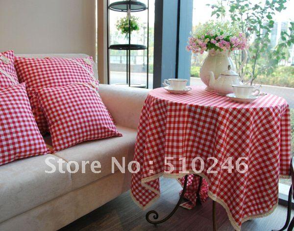 wholesale&retailing linen cotton 140x140cm red beautiful home decoration hometextile desk table linen table cover tablecloth(China (Mainland))