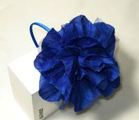 "12pcs/lot, 5.5"" large plicated chiffon flower headband alice band, free shipping(brown, green, ivory, pink, grey, blue)"