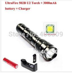 502B U2 WF-502B Cree XM-L U2 1300 Lumens LED Flashlight +1*18650 3000mAh battery+1*Charger + Free shipping