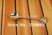 12 pcs/lot super mini 11cm Coconut tree gold spoon for tea coffee ice cream