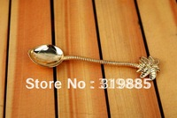 12 pcs/lot super mini 11cm Coconut tree gold spoon for tea coffee ice cream