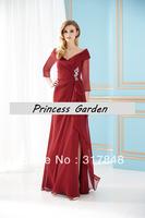 Latest free shipping elegant design v neck pleated ruffle beading chiffon homecoming prom evening party dresses ED181