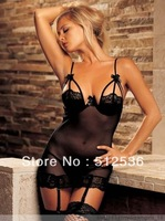 Hot ! Black and White color ladies sheer sexy lingerie, sexy apparel, nightdress,M,XL,XXL