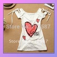 2012 Women's Fashion Korea Sexy Love Off Shoulder T-shirts Tops white ~Free shipping