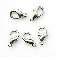 Free Shipping 100 X 10mm Silver Plated Metal Lobster Clasps jewerly findings jewellery accessories jewelry part(China (Mainland))