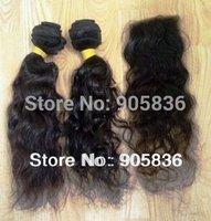 "Two bundles 16"" one pcs 14"" closure curly  virgin brazilian remy hair 3 pcs lot"
