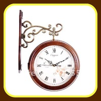 Home Decor Use Solid  Wood Double Sided Clock