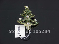 free shipping!Romantic  crystal Christmas tree brooch