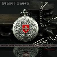 MINGEN SHOP - Antique necklace Pocket watch Round Flower embossed quartz watch Light gun color S220-1 watch wholesale