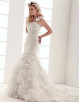 Stunning Trumpet/Mermaid One Shoulder Court Train Taffeta Wedding Dress
