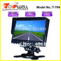 Free Shipping the most popular led backlight 480*RGB*234 HD DC12V & DC24V 7'' reversing monitor,with 2 AV In & Sun Shield