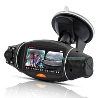 Free Shipping!!Dual Lens in Car Camera Video Register Recorder DVR CAM G-sensor support GPS
