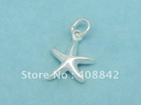 Min order $5 Free shipping 925 Sterling Silver  Starfish Charm Pendant PA44 Fashion DIY Jewelry Fit Bracelet Earring Necklace