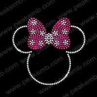 Free Shipping 30pcs/Lot  Custom Design Available Bling Minnie Mouse Rhinestone Transfers Iron On Motif