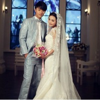2012 Royal New Arrival Lace Princess Bride Long-sleeve Train Wedding Dress Formal Dress Free Shipping
