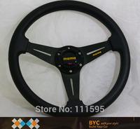 Free Shipping !!  Car stylingn HOT Sale Cheapest MOMO Black PU Flat Steering Wheel