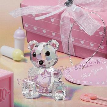 Choice Crystal Collection pink Teddy Bear Figurines SJ018/A Wedding Favor, Wedding Gift, Wedding Souvenir