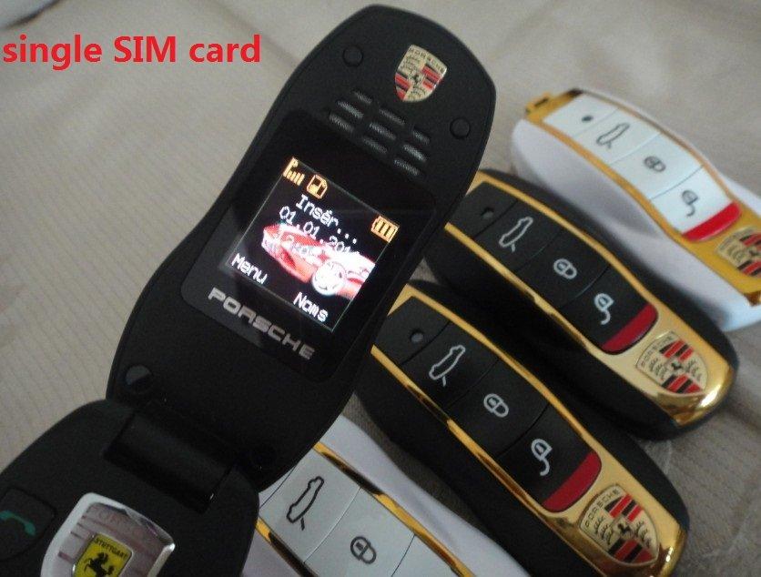 mini car phone in Trip-bands Fashion mini A single card Flip mobile phone Porsche P168 car key m ...
