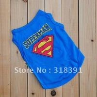 free shipping!blue colors supermen style dog T shirt .Wholesale and retail!summer cat pet coat,vest.clothes.10 pcs/lot