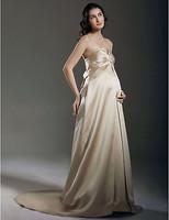 Stunning Sheath/ Column Empire Sweetheart Court Train Satin Maternity Wedding Dress