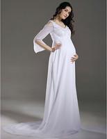 Stunning Sheath/ Column Empire V-neck Chiffon Maternity Wedding Dress With Beaded Appliques