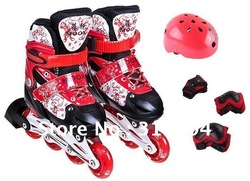 New arrival hot sale brand new children&#39;s flashing roller blade roller shoes size adjustable aluminum alloy frame high quality(China (Mainland))