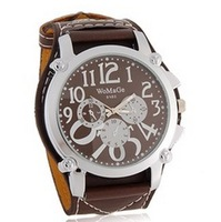 New 9150 WaMaGe Men's Large Dial Wide Band Wrist Watch (Black.white.brown)+free shipping