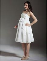 Stunning A-line Empire Spaghetti Straps Knee-length Chiffon Maternity Wedding Dress
