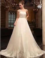 Empire One-Shoulder Court Train Sleeveless  Beading Lace Organza Wedding Dress /bridal dress Custom Made