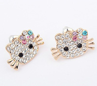 Cartoon Cute Earbob Beautiful Princess Hello Kitty Alloy Golden Earring with Colorful Flower Girls Jewelry South Koera Style