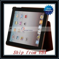 Free Shipping,Wholesale Cross Pattern Leather Case For iPad/For iPad 3 Brown Ship from USA-87004076