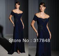 2014 newest designer free shipping off shouler blue fashion short sleeves applique flowers chiffon bridesmaid dresses BD57