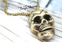 Pocket watch Fob Watches New Antique Cute bronze Skeleton head Necklace Vintage Pocket Watchd dfsdf  50pcs/lot