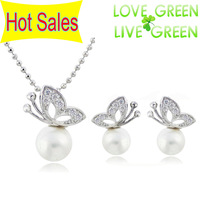 Free Shipping  Hotselling Quality White K plated Streamer Pearl Drop Butterfly fashion Jewelry set Necklace + Earrings 3964