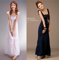 Cheap sexy bohemian long dresses women long summer dress 2014 maxi party dresses cotton blue white pink black
