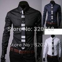Free shipping Men's plaid long-sleeve shirt Cultivate high quality long sleeve shirt three colors