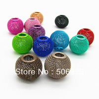 20mm multicolor metal net Ball Mesh spacer Bead multicolour netting ball 50pcs free shipping HB237