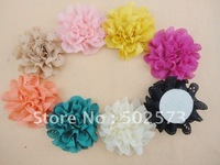 "600PCS/LOT  3"" Eyelet Flowers Head Eyelet Fabric Flowers Hair Accessory/Bride Accessory"