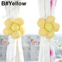 Hot Selling--2pcs Colorful Sunflower Drapes Curtain Decorative Tieback Buckle Hooks Clip Holdback Holder--Yellow
