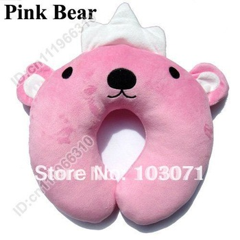 Newest Baby Children Infant Toddler Car Booster Seat Neck Saver Necksaver Protector Head Support Cartoon Animal Pillow-Pink Bear