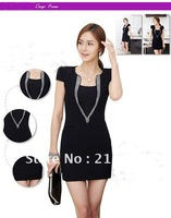 New arrival summer Korean version  Ice silk noble elegance water diamond decoration sexy slim black dress